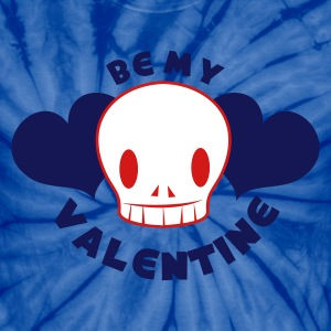 Spider baby blue be my valentine with skull smiling and beautiful love hearts T-Shirts - Unisex Tie Dye T-Shirt