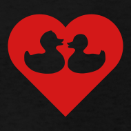 Design ~ duckies of love - red on black