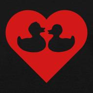 Design ~ duckies of love - red on black