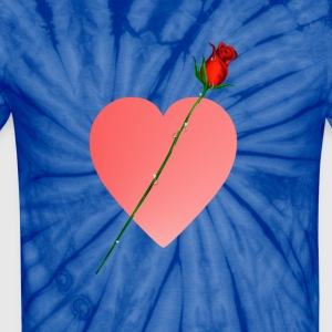 Pink Heart and Rose - Unisex Tie Dye T-Shirt