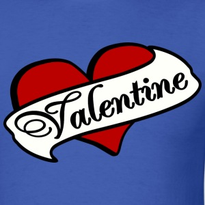 Royal blue Valentine Tatoo Red Heart With Banner--DIGITAL DIRECT PRINT T-Shirts - Men's T-Shirt
