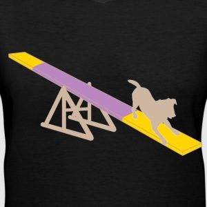 Dog on Agility Teeter - Women's V-Neck T-Shirt