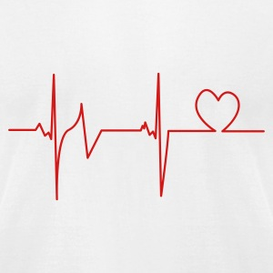 White Heartbeat T-Shirts - Men's T-Shirt by American Apparel