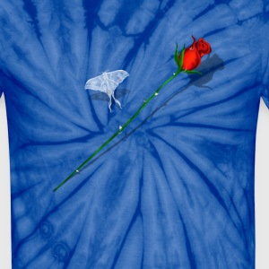 Red Rose and White Butterfly - Unisex Tie Dye T-Shirt