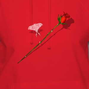 Red Rose and White Butterfly - Women's Hoodie