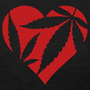 Black Marijuana Heart / Cannabis Love Women's T-Shirts - Women's V-Neck T-Shirt