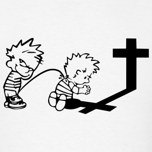 Calvin Peeing On Calvin Praying - Men's T-Shirt