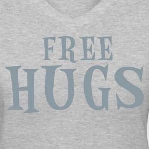 Gray free hugs Women's T-Shirts - Women's V-Neck T-Shirt