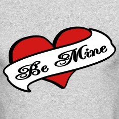 Heather grey Be Mine Heart Banner Tattoo Long Sleeve Shirts