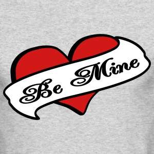 Heather grey Be Mine Heart Banner Tattoo Long Sleeve Shirts - Men's Long Sleeve T-Shirt by Next Level