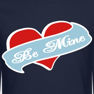 Navy Be Mine Heart Banner Tattoo Long Sleeve Shirts - Crewneck Sweatshirt