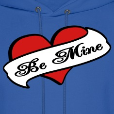 Royal blue Be Mine Heart Banner Tattoo Hoodies