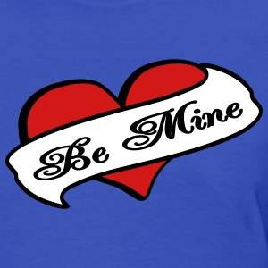 Light blue Be Mine Heart Banner Tattoo Women's T-Shirts - Women's T-Shirt
