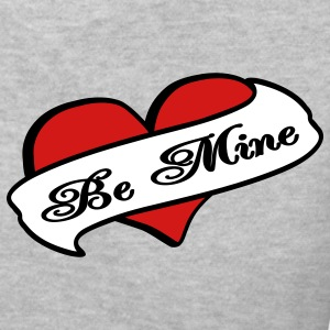 Gray Be Mine Heart Banner Tattoo Women's T-Shirts - Women's V-Neck T-Shirt