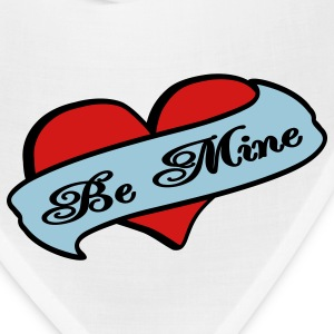 White Be Mine Heart Banner Tattoo Other - Bandana