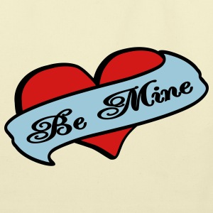 Creme Be Mine Heart Banner Tattoo Bags  - Eco-Friendly Cotton Tote