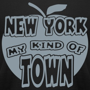 Black New York, My Kind Of Town With Apple, 1 Color T-Shirts - Men's T-Shirt by American Apparel