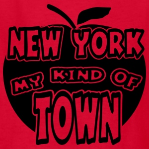 Red New York, My Kind Of Town With Apple, 1 Color Kids' Shirts - Kids' T-Shirt