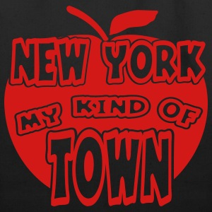 Black New York, My Kind Of Town With Apple, 1 Color Bags  - Eco-Friendly Cotton Tote