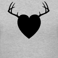 Gray HEART ANTLERS Women's T-Shirts