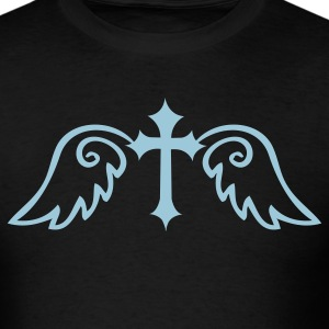 Black gothic cross with angel wings T-Shirts - Men's T-Shirt