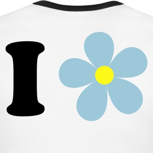 Sky/navy i heart love pretty flower T-Shirts - Men's Ringer T-Shirt