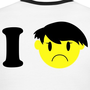 Chocolate/tan i heart frowning emo kid smiley T-Shirts - Men's Ringer T-Shirt