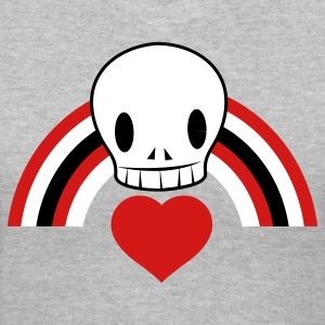 Gray Punky EMO skull with heart and rainbow cool! Women's T-Shirts - Women's V-Neck T-Shirt