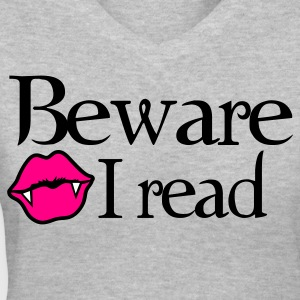 Gray Beware I READ twilight tribute shirt Women's T-Shirts - Women's V-Neck T-Shirt