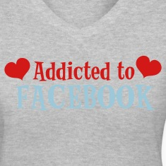 Gray ADDICTED TO FACEBOOK with love hearts Women's T-Shirts