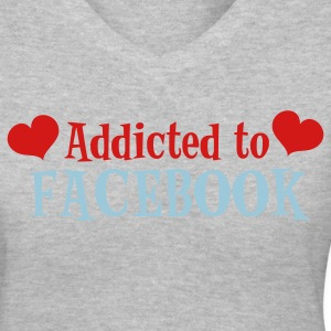 Gray ADDICTED TO FACEBOOK with love hearts Women's T-Shirts - Women's V-Neck T-Shirt