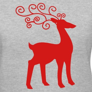 Gray reindeer cool Women's T-Shirts - Women's V-Neck T-Shirt
