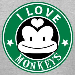 Gray i love monkeys with cute face starbucks tribute Women's T-Shirts - Women's V-Neck T-Shirt