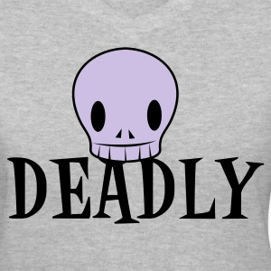 Gray DEADLY with very cute skull emo Women's T-Shirts - Women's V-Neck T-Shirt