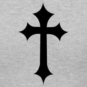 Gray fancy gothic cross  Women's T-Shirts - Women's V-Neck T-Shirt