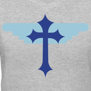 Gray gothic cross with angel wings symbol Women's T-Shirts - Women's V-Neck T-Shirt