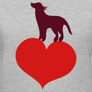 Gray dog standing on a love heart Women's T-Shirts - Women's V-Neck T-Shirt