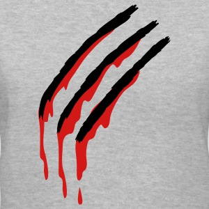 Gray three slashes with blood werewolf Women's T-Shirts - Women's V-Neck T-Shirt