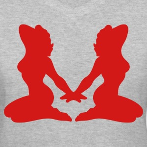 Gray two ladies sexy posing Women's T-Shirts - Women's V-Neck T-Shirt