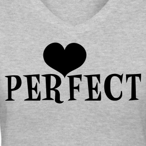 Gray perfect with love heart Women's T-Shirts - Women's V-Neck T-Shirt