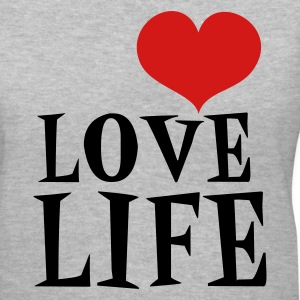 Gray love life Women's T-Shirts - Women's V-Neck T-Shirt