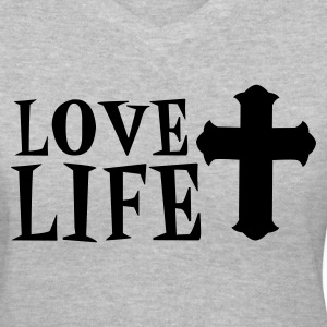 Gray love life with fancy cross Women's T-Shirts - Women's V-Neck T-Shirt
