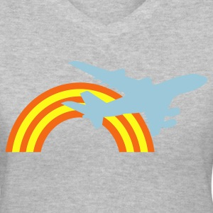 Gray jet plane flying over the rainbow Women's T-Shirts - Women's V-Neck T-Shirt