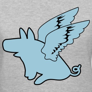 Gray flying pig pigs might fly Women's T-Shirts - Women's V-Neck T-Shirt