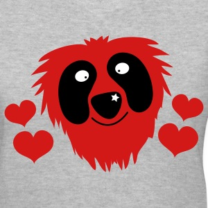 Gray funny red grover like monster with love hearts Women's T-Shirts - Women's V-Neck T-Shirt