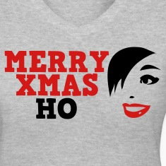 Gray merry xmas ho comedy insult Christmas shirt Women's T-Shirts