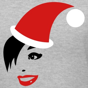 Gray funky VINTAGE ladies face with SANTA hat! Christmas design Women's T-Shirts - Women's V-Neck T-Shirt