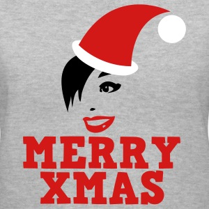 Gray MERRY XMAS beautiful womans face xmas Christmas SANTA hat  Women's T-Shirts - Women's V-Neck T-Shirt