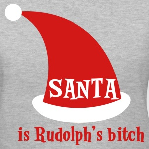 Gray SANTA is rudolphs bitch Christmas design Women's T-Shirts - Women's V-Neck T-Shirt