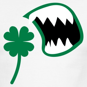 White/black St Patricks Day clover with an OPEN MOUTH ! T-Shirts - Men's Ringer T-Shirt